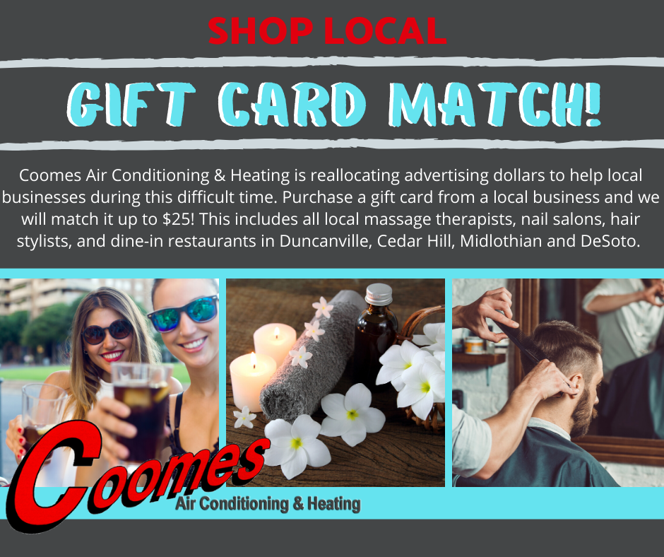 Coomes Air Conditioning & Heating is proud to support local businesses during the COVID-19 pandemic.